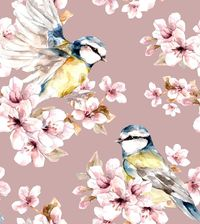 Sakura Birds -trikoo, rose